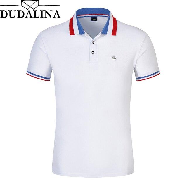 Dudalina Camisa Polo Novo 2018 Homens Marca de Moda Polo camisa de Cor  Sólida Slim Fit 4988dbc8b7681