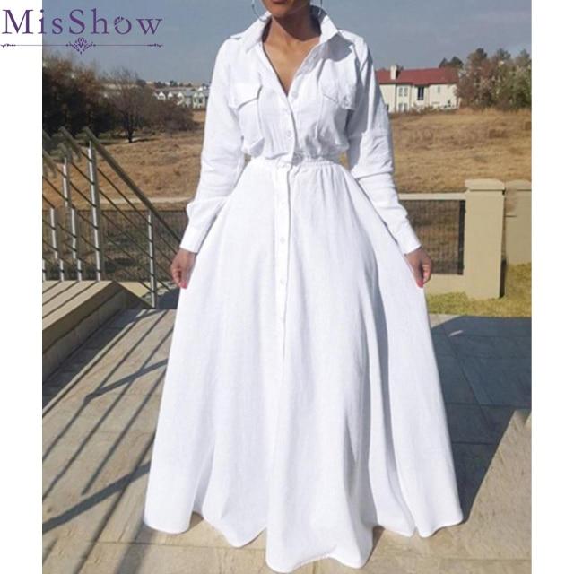 Plus Size 2019 New Fashion Long Sleeve Dresses Autumn Women Maxi Cotton Long Dress Big Large Size Women Vestidos Ladies Dress