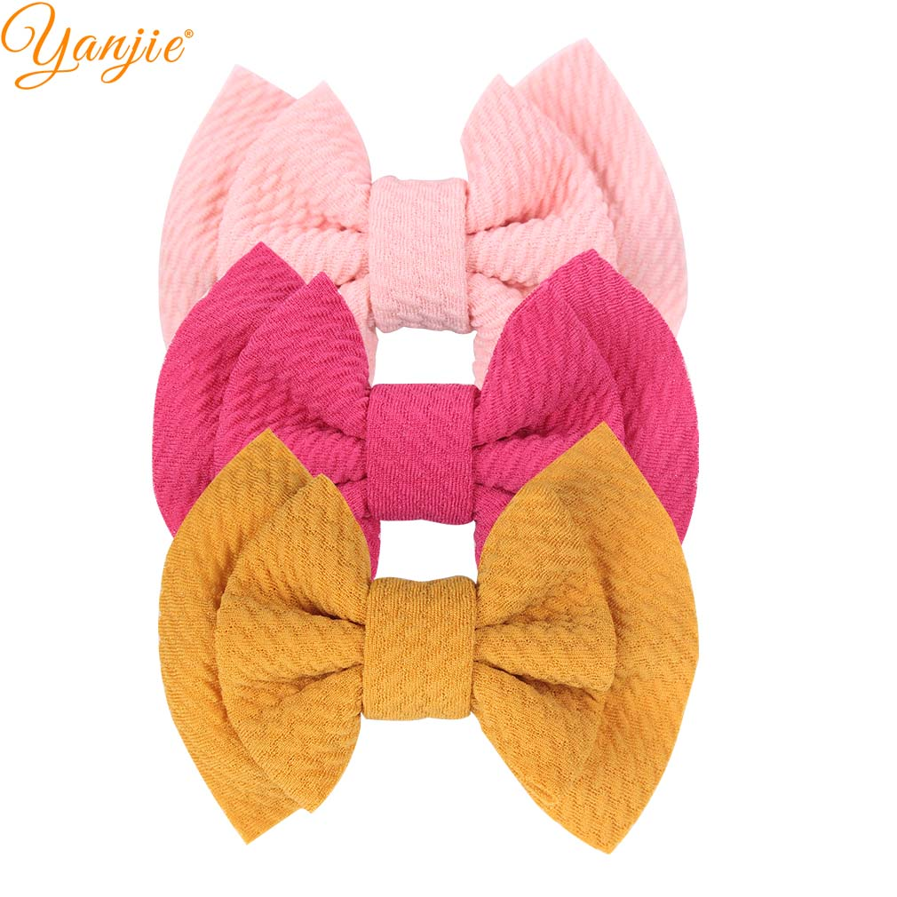 10pcs/lot 3.5'' Double Layers Waffle Hair Bow For Girls Kids Headband Chic Barerres Hair Clip 2019 Hot Sale DIY Hair Accessories
