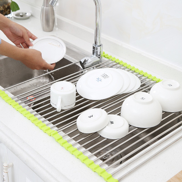 Vegetable Drainer Shelf Roll Up Stainless Steel Sink Dryer Rack ...