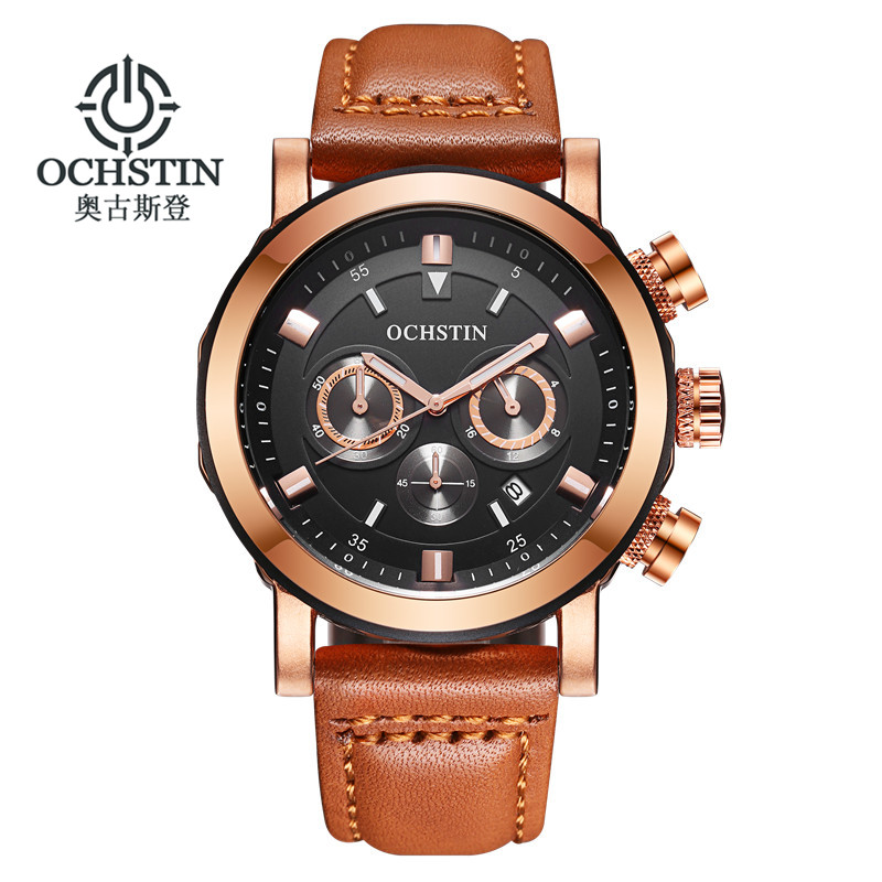 New Watch Men Chronograph Army Military Stainless Steel Case Date brown Leather Band Waterproof Sport Quartz Military Watches weide new men quartz casual watch army military sports watch waterproof back light men watches alarm clock multiple time zone