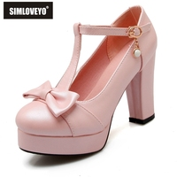 SIMLOVEYO Fashion Shoes Women High Heels Pearl Pumps Buckle Straps Lady Mary Janes Round Toe Bow Platform Party Pumps B567
