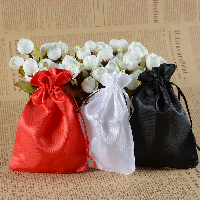 100pcslot Tulle Wedding Favors And Gift Bags Redwhiteblack