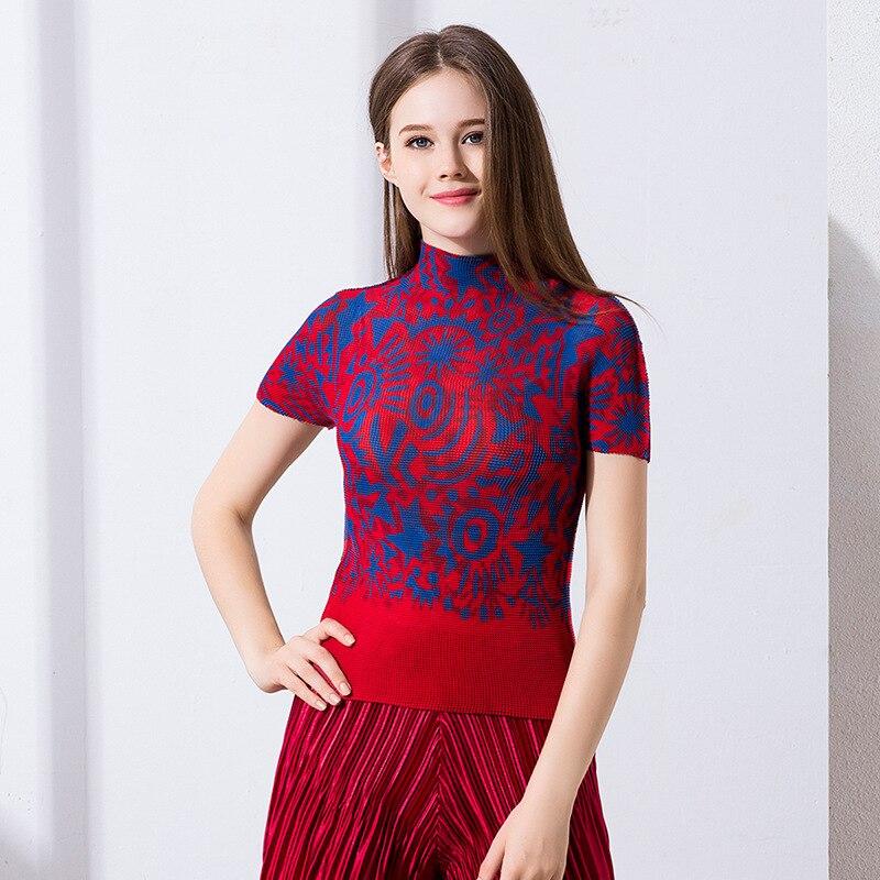 Arrugas verano nuevo estilo de alta cuello camiseta mujer manga corta miyake pliegues camiseta envío gratis - 6