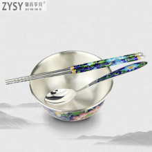 2019 New Arrival Noenname_null Traditional Chinese Plant Metal Silver Color Enamel 1 Dinnerware Sets