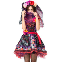 Adult Women Scary Ghost Bride Costumes Red Floral Print Dress+Sashes+Headwear Skeleton Halloween Witch Cosplay