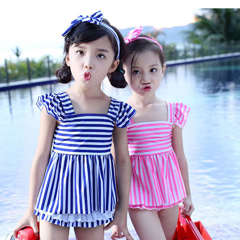 Cute Two Pieces Swimsuit Little Girl Swim Dress Kids Children' Bathing Suit Young Girls