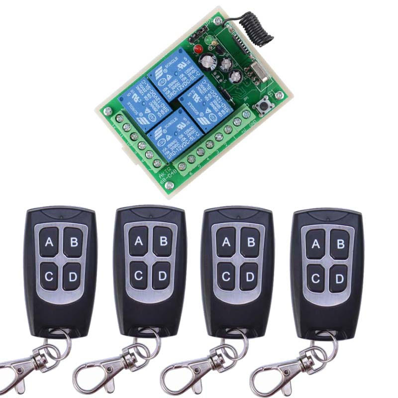 DC12V 4CH RF Wireless Remote Control System Teleswitch 4 Transmitter and 1 Receiver Universal Gate Remote Control dc12v 2ch rf wireless remote control witch 10 cat eye transmitters and 1 receiver universal gate remote control radio receiver