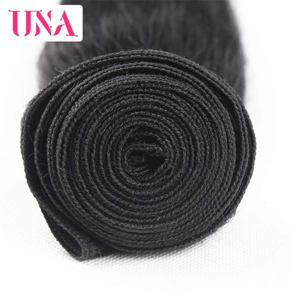 UNA Menselijk Haar 1/3/4 Stuk Kleur # 1B Haar Braziliaanse Straight Remy Weft Menselijk Haar weave Bundels 8-26 inches Gratis Verzending