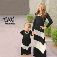 Mother Daughter Dresses 2017 Black Long Sleeve Mother Daughter Outfitsmommy And Me Clothes Family Look Mom