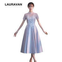 special occasion high neck gray satin prom teal length ball gown dress short formal women gowns dresses vintage 2019 new arrive