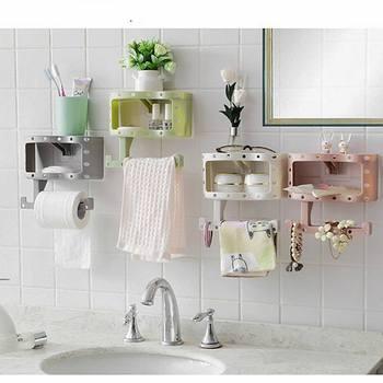 Urijk Makeup Organizer Tissue Holders Towel Rack Storage Boxes Organizer  For Cosmetics Bathroom Shelf Storage Organizer
