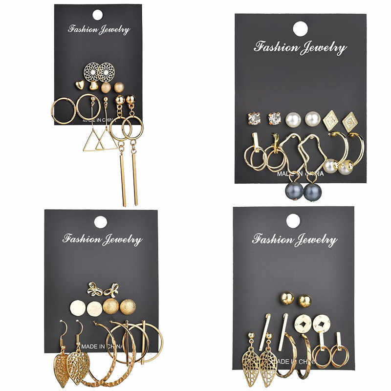 Yobest Fashion Geometric Gold Color Stud Earrings Set For Women Girls Metal Elephant Moon Letter Earring Handmade Female Jewelry