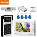 "7"" LCD Video Door Phone Intercom Doorbell System Kits Aluminum Alloy Panel ID Card+Exit Button+Electric Door Strike Lock+Power"