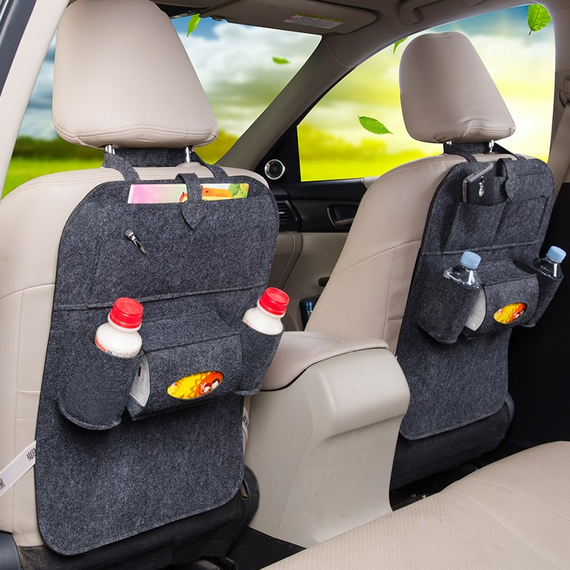 2pcs Car Storage Bag Back Seat Felt Multifunction Hanging bags for mitsubishi pajero 4 full sport carisma montero outlander 3xl car tail lamp 2011 2017 for mitsubishi pajero montero sport full led taillight plug and play year pajero taillights back