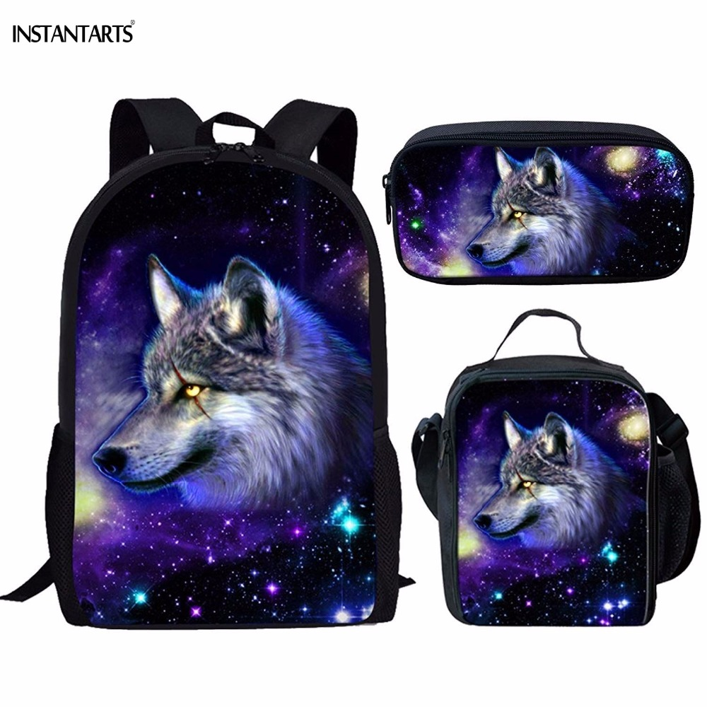 INSTANTARTS Cool Galaxy/Universe Wolf Print Schoolbag for Boys 3PCS Set Backpacks Children Casual Middle School Student Backpack kangaroo pocket galaxy print cool hoodie