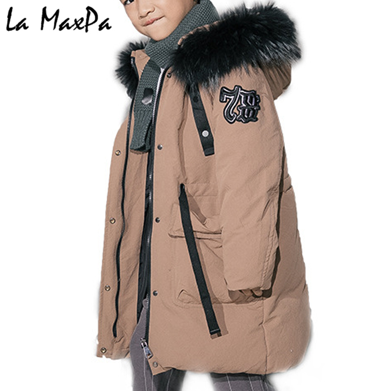 -30Dgree Duck Down Children Winter Jacket Boy Winter Coat Kids Warm Thick Fur Collar Hooded long down Coats For Teenage 5Y-13Y boy winter long warm down jacket boy simple fashion warm down jacket boy big fur collar thick coat boy solid color coat