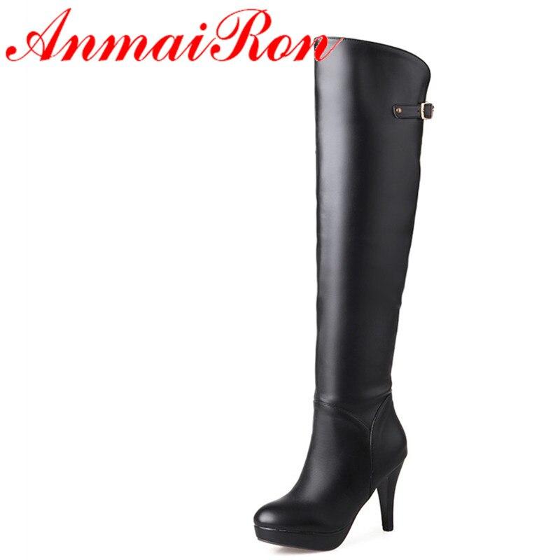 ФОТО ANMAIRON New Winter Women High Heel Long Boots Fashion Zipper Buckle Platform Boots Sexy Red Black White Knee High Boots