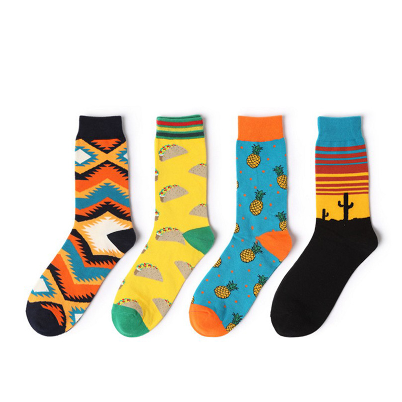 Long Art Cute Printed funny socks Men and women Breathable Cotton Socks ladies Ankle 3d Happy colorful Socks Crew