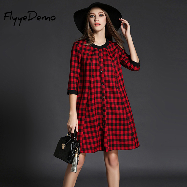 Fantastic 2017 Autumn Fashion Long Shirt Dress Red Plaid Cotton Dress For  YJ47