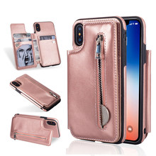 Fashion PU Leather Cover for iPhone X XR XS MAX 7 Case Flip Card Holder Back Case for iPhone 6 6s 7 8 Plus Cover Wallet Coque(China)
