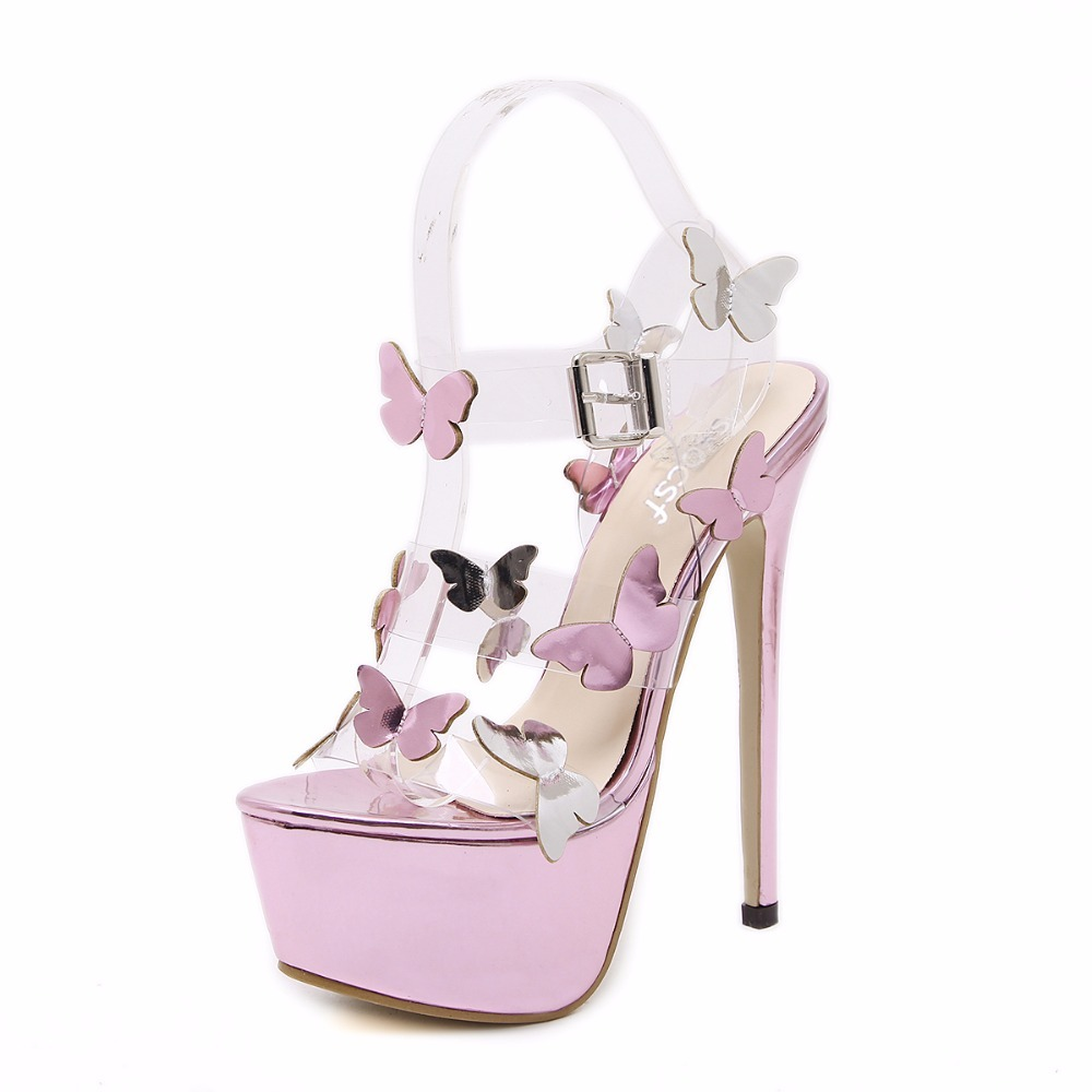 Super High Ladies Sweet Sexy Summer Butterfly Crystal High Heels Sandals Women Platform Ankle Strap Shoes Purple Wedding Shoes основание butterfly zhang jike super zlc
