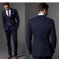 Custom Made Dark Blue Men Suit Tailor Made Suit Bespoke Light Navy Blue Wedding Suits For