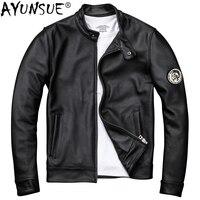 AYUNSUE натуральная куртка из коровьей кожи мужская одежда 2019 Осень Новые Мотоциклетные Куртки из натуральной кожи короткое пальто Jaqueta De Couro