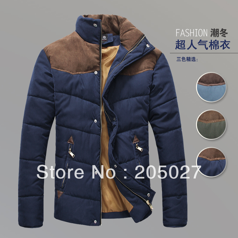 ФОТО 2013 cold winter wadded jacket  cotton-padded jacket winter for men colorant match brief thermal fur coat
