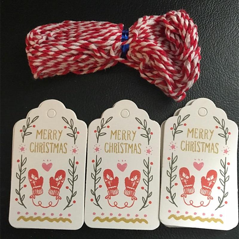 Hot Sale 50pcs Noel Paper Tags 2m Rope Merry Christmas Tree