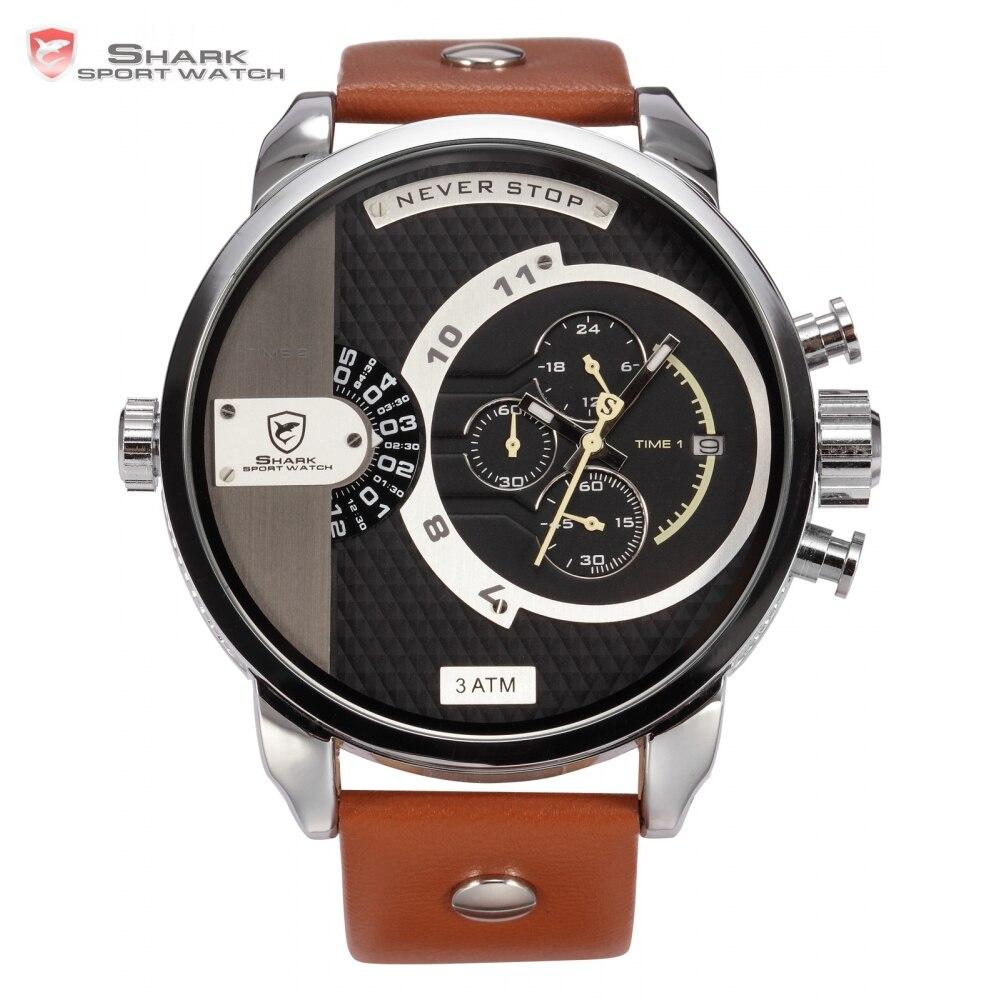 b57688246fea7e Luxe Lederen Doos WHALE Shark Sport Horloge Bruin Lederen Band Stopwatch  Wrap Grote Militaire Mannen Leger Casual Mode Horloge/SH162 in Luxe Lederen  Doos ...