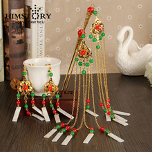 HIMSTORY Retro Vintage Chinese National Wedding Hair Accessories Brides Hairpins Hairstick Earrings Jewelry Hairwear