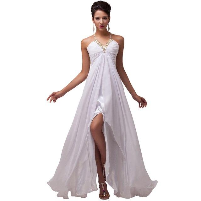 32dc304e9b Nuevas mujeres atractivas bastante bola delantero noche largo vestidos cena  Formal blanco gasa CL6070