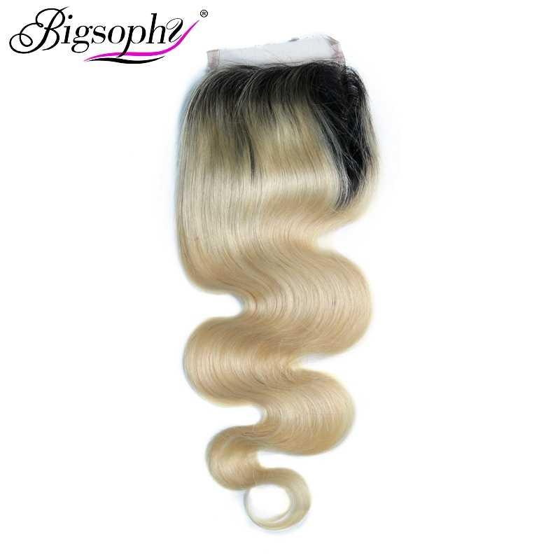 Малазийские Кружева Закрытие 4X4 человеческие волосы волнистые кружева Закрытие блонд цвет 1B/613 с Детские волосы швейцарское кружево Человеческие волосы Remy Bigsophy