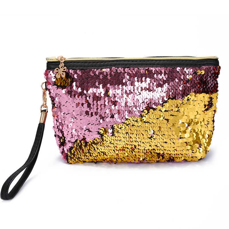 451236a57b46 Luxury Sequins Women Day Clutches Purse Wristlets Zipper Small Handbag  Mermaid Style Clutch Evening Bags Ladies