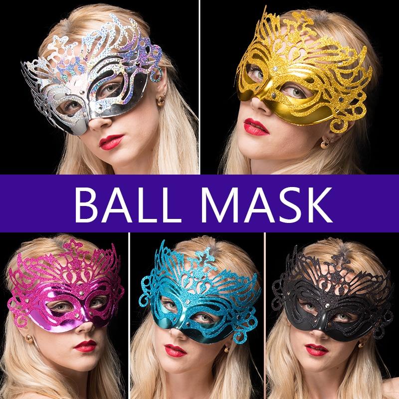 10PCS Half-face taneční maska koruna se zlatým práškem na party svatební maškarní Halloween vánoční karneval dekorace PVC