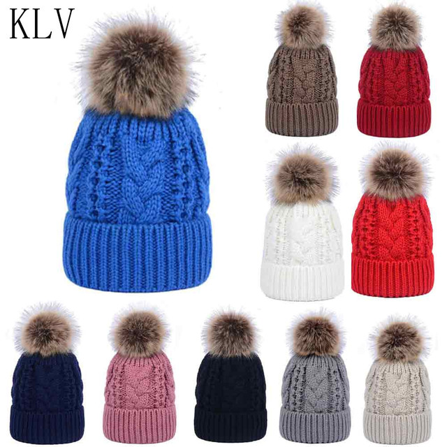 KLV Fur Winter Hats for Women Men Knitted Fur Beanies Cap With Fox Fur Pom  Poms Ball Brand New Thick Female Cap Skullies Beanies 77e951a48fea