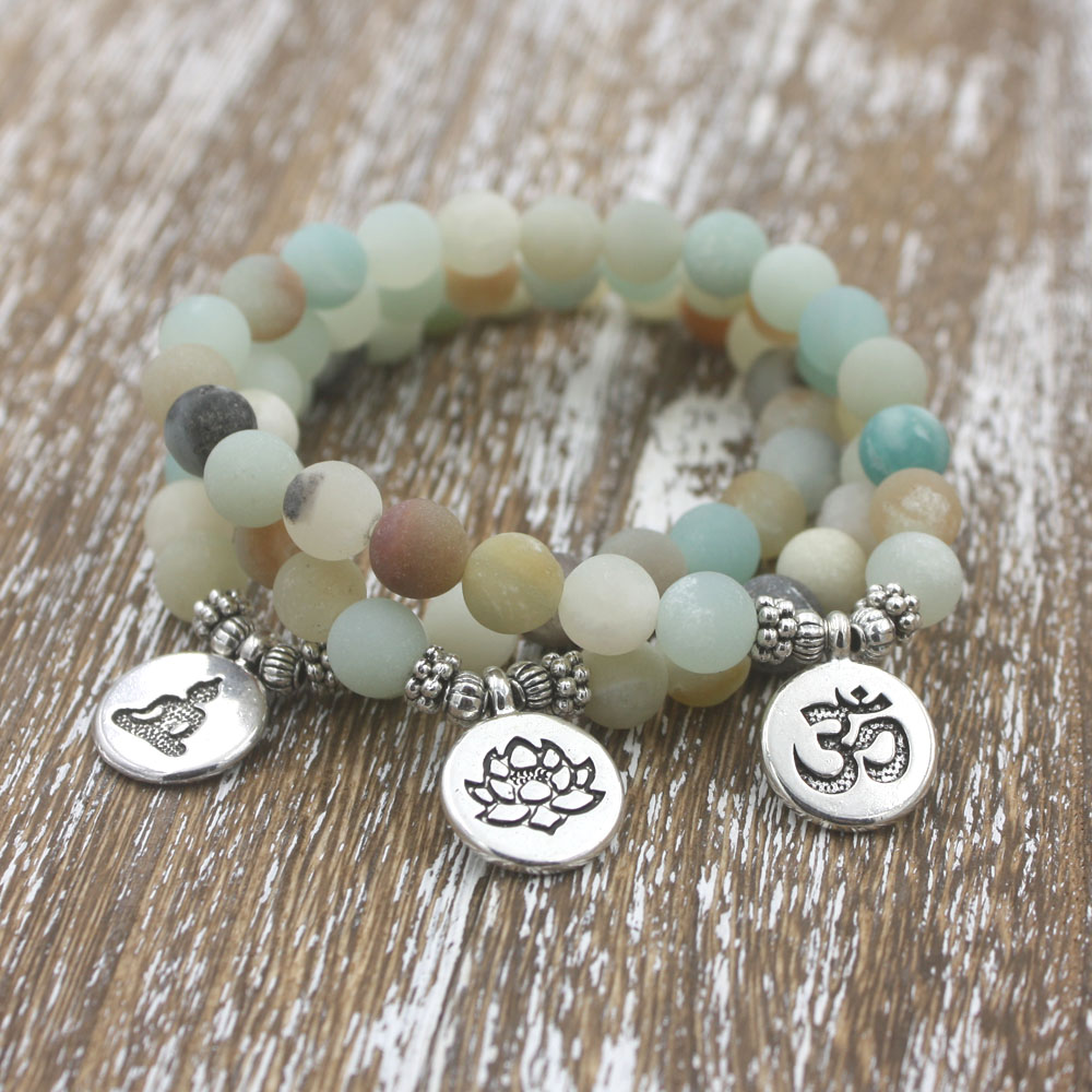 1pcs mm Matte Frosted Amazonite beads with Lotus OM Buddha Charm Yoga Bracelet