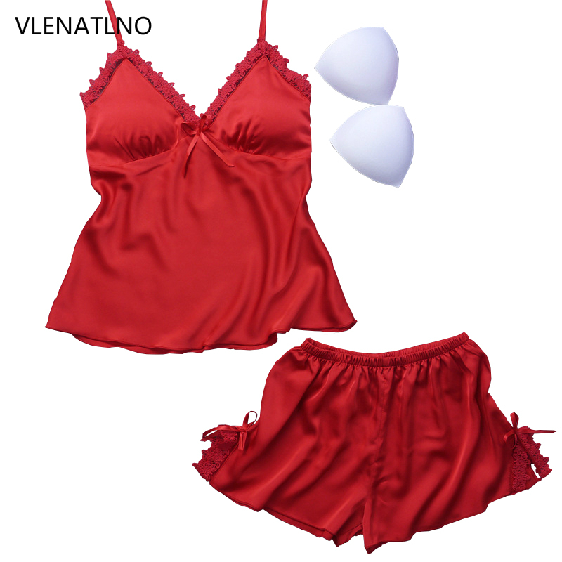 VLENATLNO Ladies Sexy Silk Satin   Pajama     Set   Sleeveless Pyjamas Femme V-neck Sleep   Set   Lace Pijama   Set   Summer Sleepwear For Women