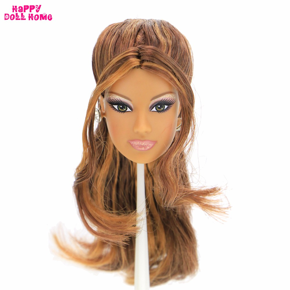 High Quality Doll Head Brown Curly Hair Long Eyelashes With Fashion Earrings DIY Gift Accessories For 1/6 12 Doll Kids Toy Gift wltoys a959 b 13 540 motor 1 18 a959 b a969 b a979 b rc car part