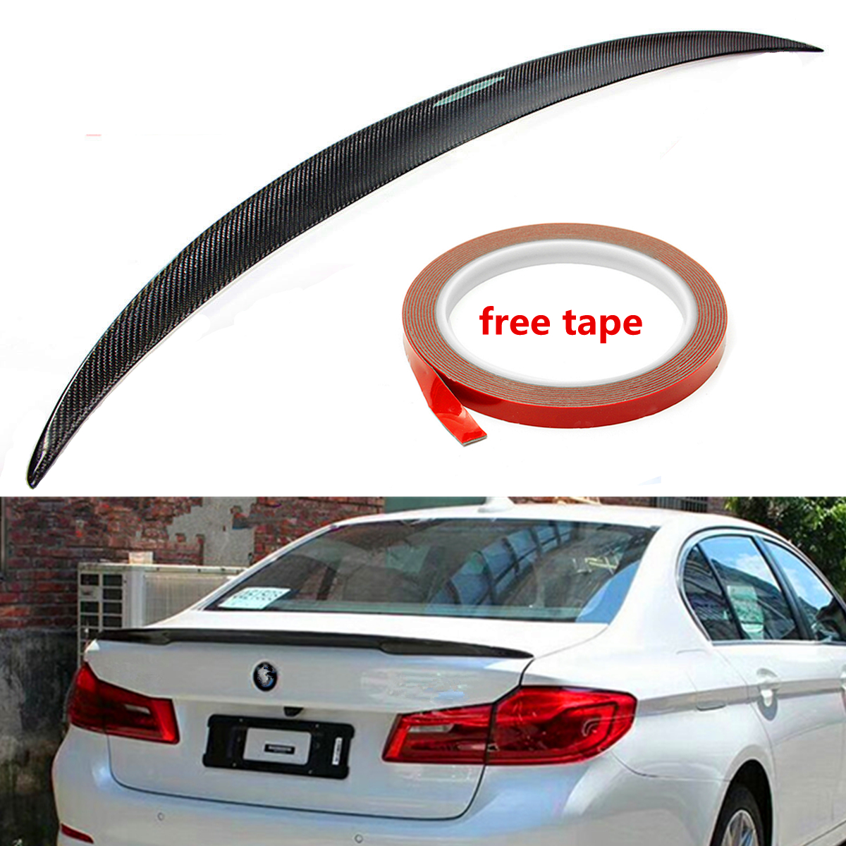 цена на High quality Car Real Carbon Fiber Rear Trunk Lid Spoiler Wing Boot Spoiler Wing for BMW G30 530i 540i 5 Series 2017-2018