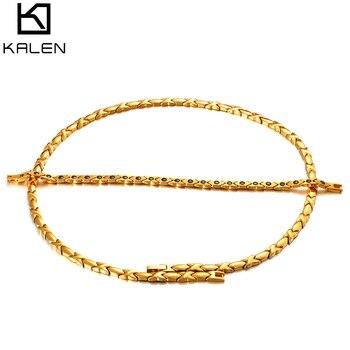 Женский комплект украшений Kalen, золотой браслет цепочка из нержавеющей стали, колье и ожерелье, Подарочные ювелирные изделия