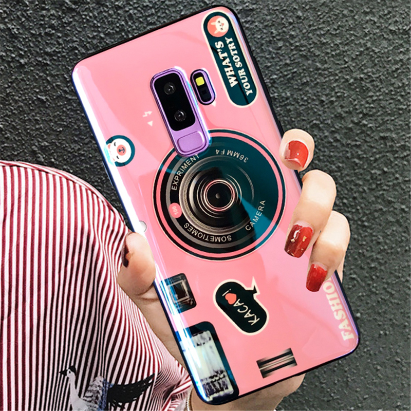 For Samsung Galaxy S8 S9 S10 Lite Note 8 9 A3 A5 A6 A7 A8 Plus J3 J4 J5 J6 J7 J8 Plus 2017 2018 Cute Camera Pattern Case Cover