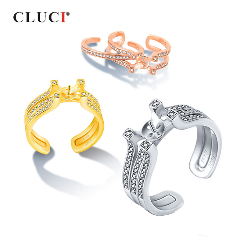 CLUCI 925 Sterling Silver Adjustable Bridal Ring Sets Jewelry For Women Silver 925 Zircon Pearl Ring Mounting Double Open Rings