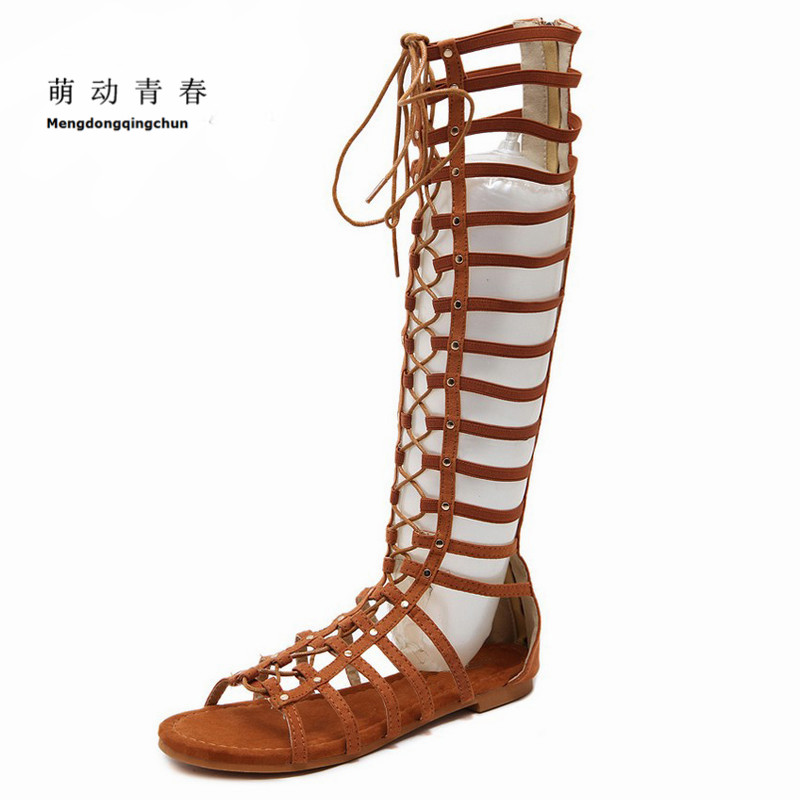Women Sandals 2018 Flock Causal Shoes Fashion Women Cross-tie Cover Heel Summer High Flat Sandals Knee High Sandalias