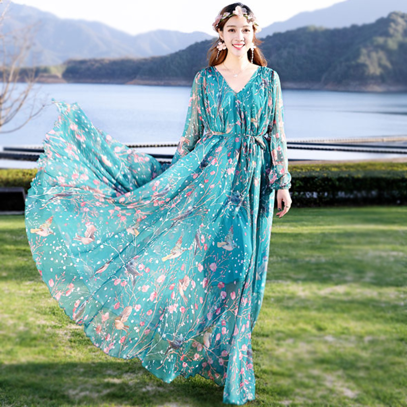 734f72c9927 2018 New Summer chiffon Long Sleeve maxi dress bohemia dress full plus size  celebrity graduation Dinner Dress Beach Sundress