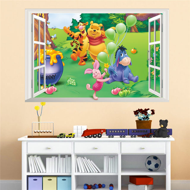 Online Shop Cartoon Winnie Pooh Wall Stickers For Kids Children Room Decor  3d Window Bear Tiger Height Measure Nursery Wall Decals | Aliexpress Mobile