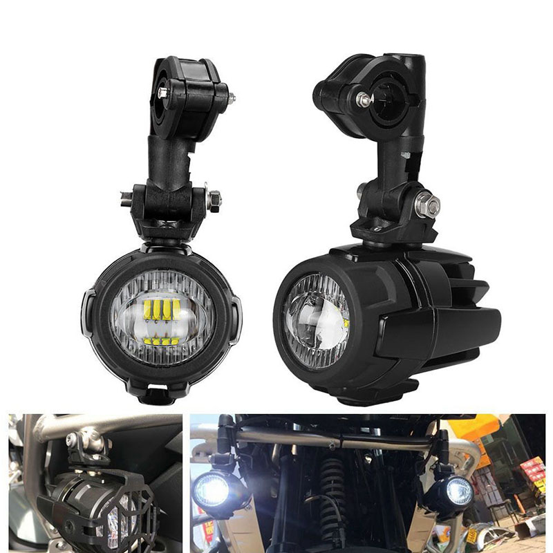 40W Motorcycle LED Auxiliary Light 6000K with Protect Gurard Bumper LED Driving Fog Lamp for BMW R1200GS F800GS Universal Moto