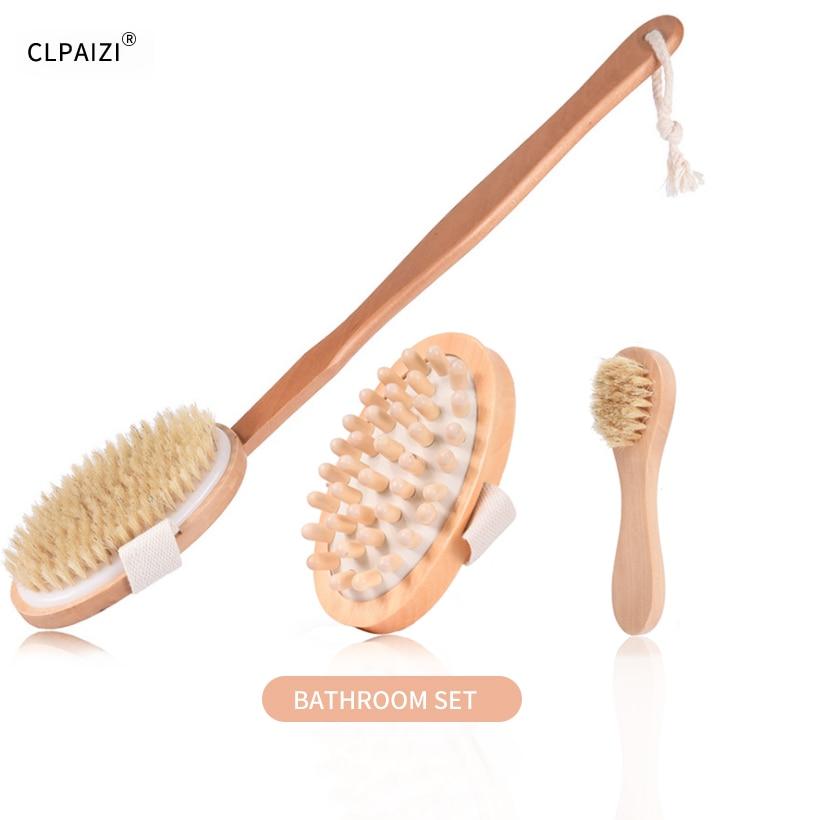 CLPAIZI Natural Bristle Body Massage Brush Exfoliation Promotes Blood Circulation SPA Dry Brush Bathroom Set Shower Brush D30