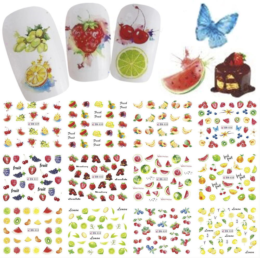 12pcs/set Summer Nail Art Stickers Water Transfer Decals Fruit Lemon Designs For Nails Decoration Manicure Sliders TRBN829-840-1